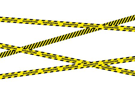 Signal tape. Yellow warning tape with text Quarantine. Yellow black isolated alarm tape on white background.