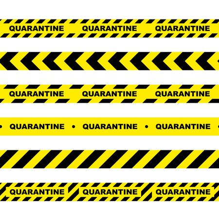 Seamless horizontal signal tape. Yellow warning tape with text Quarantine. Yellow black isolated alarm tape on white background.