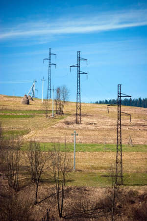 Power Line in mountains. Ukraine, Carpathians Stock Photo