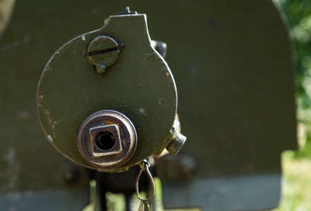 The ancient machine gun system of Old Maxim close up Stock Photo
