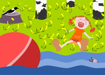 little girl dropped the ball into the river and cries Illustration