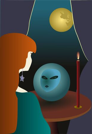 young witch foretells the future in crystal ball Vector