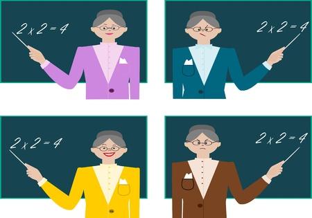 pedagogy: teacher teaches math lesson in a different mood