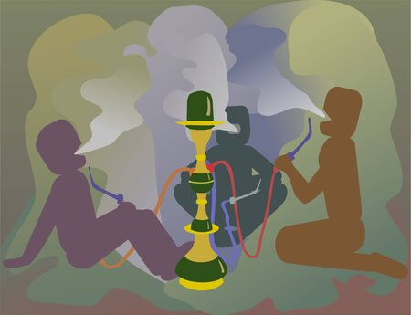 hookah: smoking drugs blurs world Illustration