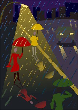 rain in the night city