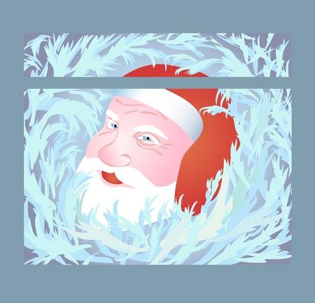 Santa Claus watching through the frozen window Vector