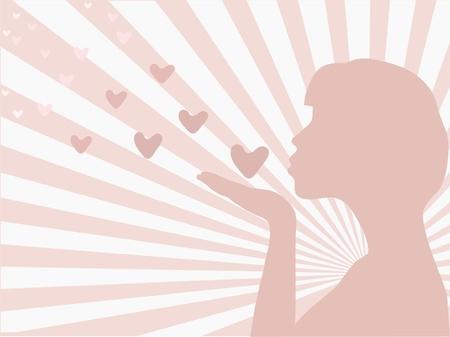 silhouette of a girl sending love