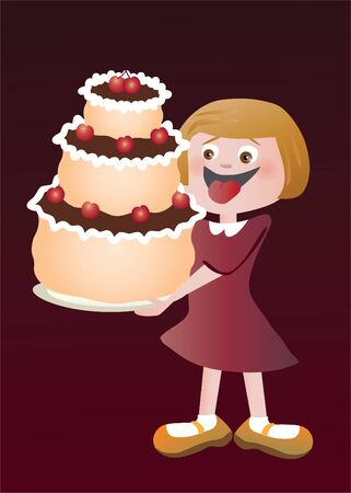 Happy girl with a big cake Illustration