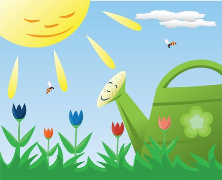 sun and water - the base of gardening Vector