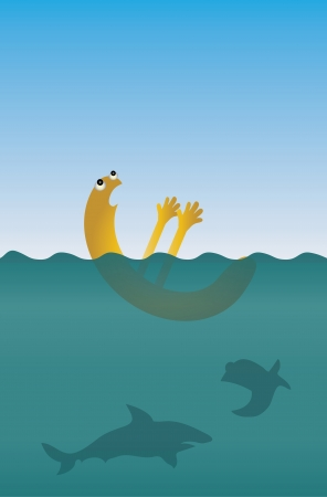 financial emergency: Caricature for euro crisis - symbol of euro drowning
