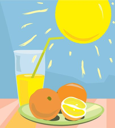 Still life with orange juice, sun and oranges