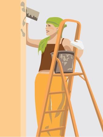 stepladder: girl worker standing on a stepladder and patting