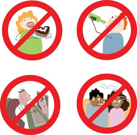 Verbotsschilder ungebührliches Verhalten