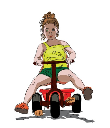 little girl riding a tricycle Vector