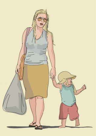 tired mom walking with her baby son