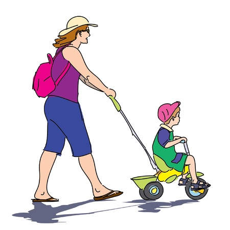 energetic mother walking with son