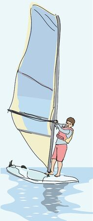 child learning windsurfing
