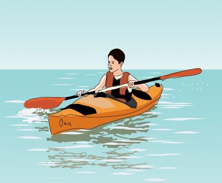 kayak: tiener jongen drijft op kajak Stock Illustratie