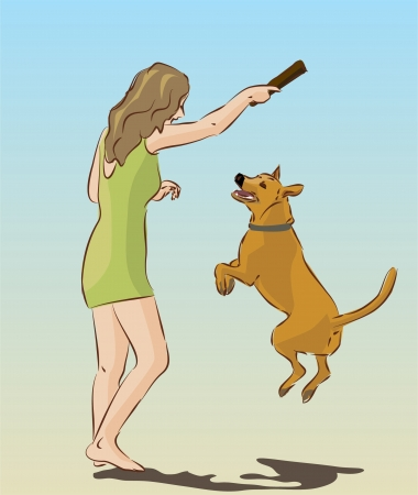 young girl playing with dog Illustration