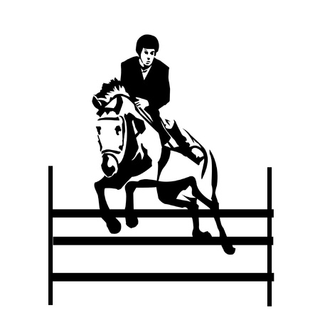 black and white illustration of horseman jumping obstacle  Vector