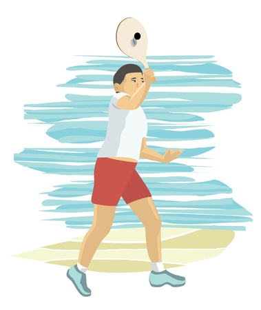 asian boy playing beach paddle tennis
