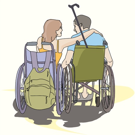accident woman: couple young people in love in wheelchairs