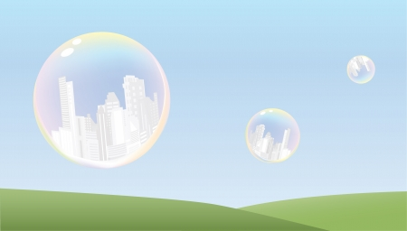 cities in bubbles abstract background