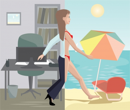 girl stepping from office to sea beach Illustration