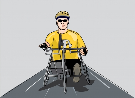 charity drive: disabled man riding a bike  Illustration