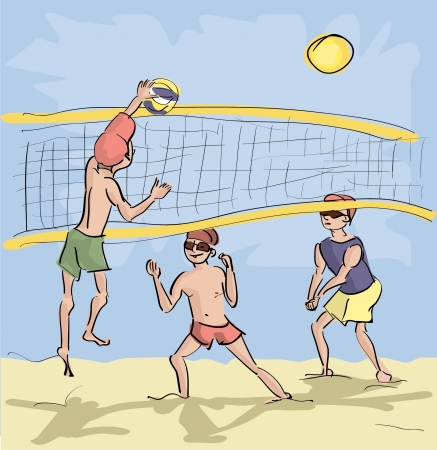 men playing beach volleyball Vector
