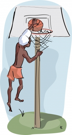 boy playing basketball outdoors Illustration