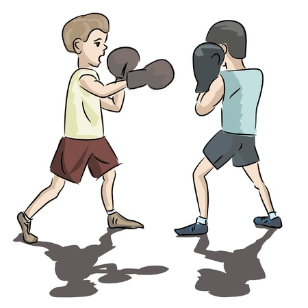 two kids boxing isolated on white