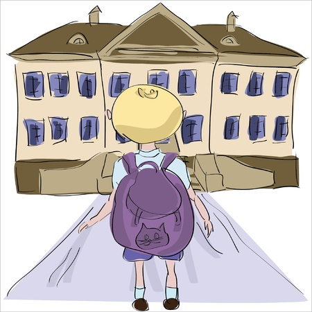 little boy with big school bag standing towards school building Stock Vector - 21933061