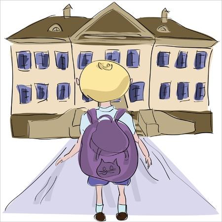 towards: little boy with big school bag standing towards school building