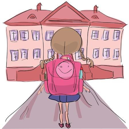 Little girl with big school bag standing towards school building Illustration