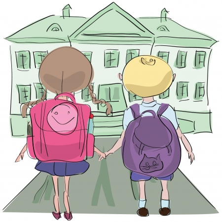 little kids with big bags o their way to school Vector