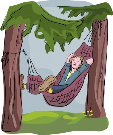 hombre durmiendo en hamaca Ilustración de vector