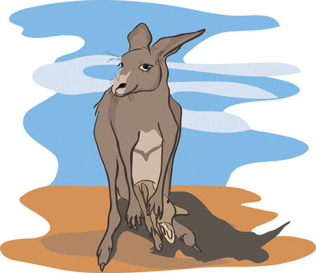 kangaroo with baby kangaroo against abstract background Vector