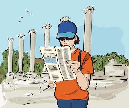 archaeological: Turista en el yacimiento arqueol�gico de Ilustraci�n