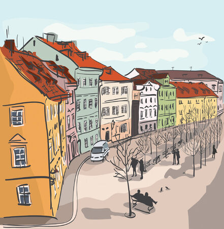 Colorful Town Street Illustration