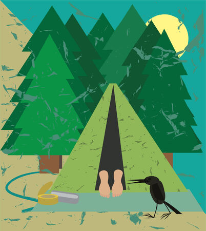 sleeping in camping Illustration