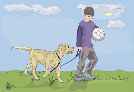 dogs playing: boy walking with dog - realistic vector illustration