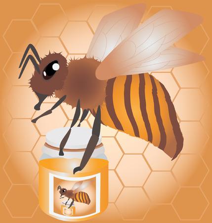 bee carrying honey jar illustration