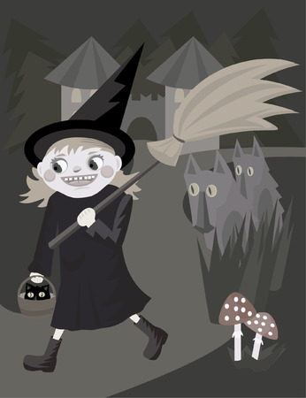 cartoon funny young witch walking with broomstick Vector