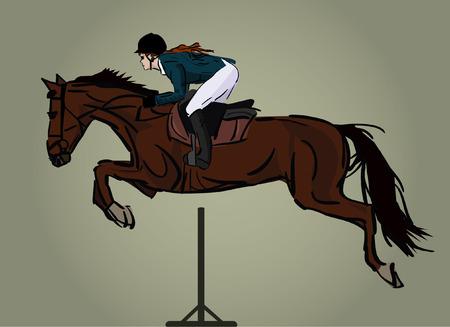 horse and jockey jumping, isolated image Illustration