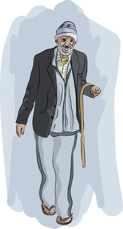 Old Homeless Man Walking with Smile Illustration
