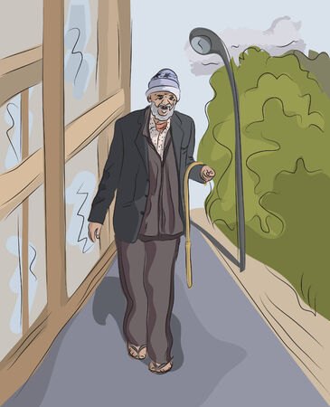 homelessness: old homeless man walking at street