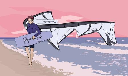 teenager walking with power kite at seashore