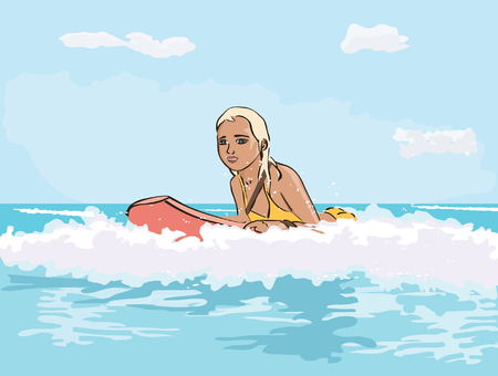 girl on the surfboard