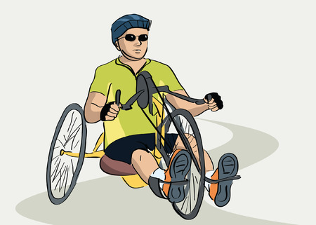 charity drive: disabled man on a bicycle